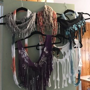 Accessories - Set of 8 cotton fringe scarves fabric summer